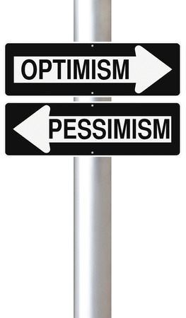 pessimism: Modified one way signs indicating Optimism and Pessimism Stock Photo