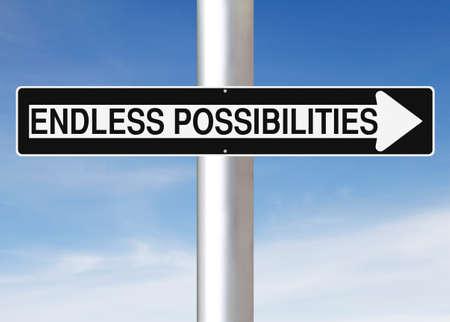 endlos: Eine modifizierte Einbahnstraße Hinweisschild Unendliche Möglichkeiten
