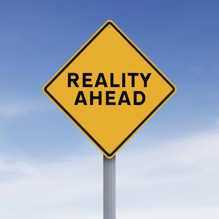 realism: Conceptual road sign on Reality Stock Photo
