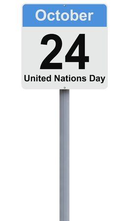 united nations: Modified road sign on the United Nations Day