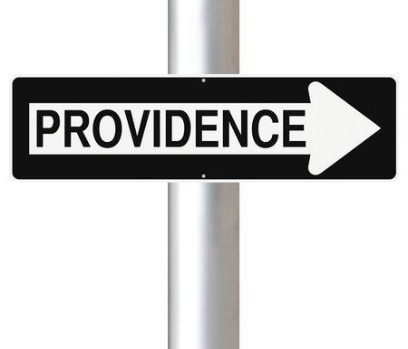 one way sign: A modified one way sign indicating Providence