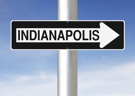 one way sign: A modified one way sign indicating Indianapolis