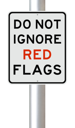 A modified sign on Red Flags Stock Photo