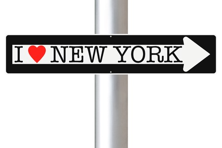 one way sign: A modified one way sign indicating I Love New York