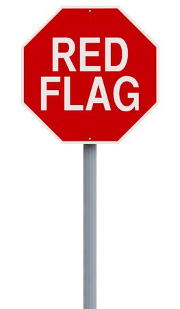A modified stop sign indicating Red Flag Archivio Fotografico