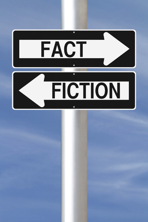 fact: Modified one way signs on Fact and Fiction Stock Photo