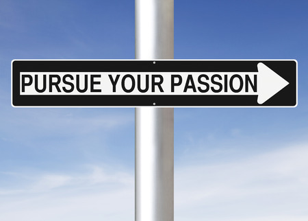 pursue: A modified one way street sign indicating Pursue Your Passion