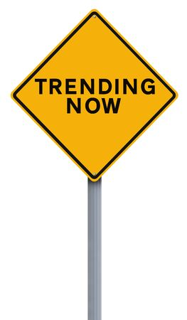 trending: A modifed road sign indicating Trending Now Stock Photo