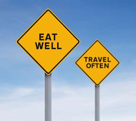 よく食べる、旅行頻度を示す変更された道路標識 写真素材