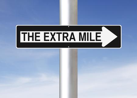 엑스트라 마일을 나타내는 변경된 편도 표지판