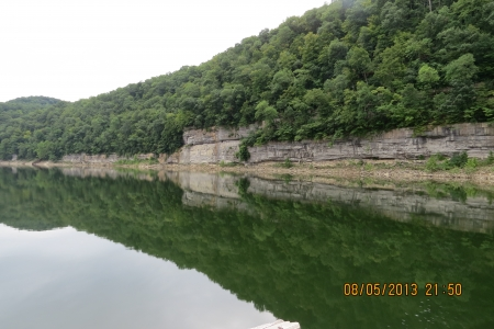 River Reflection - Cumberland River in KY, USA photo