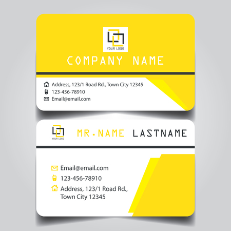 Modern yellow white black theme of creative business card and name card with horizontal curve corner template for vector design layout standard of size.