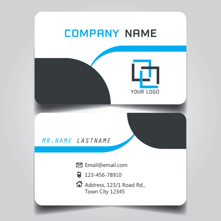 Black white and blue creative modern name card and business card 93607118 white black and blue creative modern name card and business card with horizontal standard size vector template reheart Images
