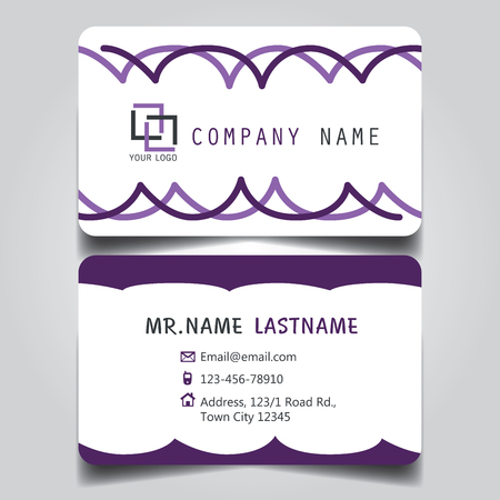 Modern Purple and White name card and business card with creative design, dimension in depth and drop shadow horizontal curve corner standard size vector illustration template