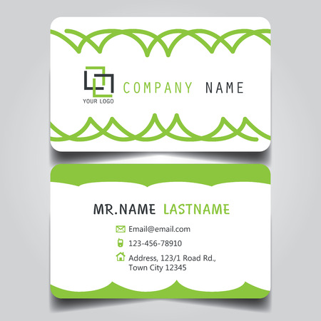 Modern Green and White name card and business card with creative design, dimension in depth and drop shadow horizontal curve corner standard size vector illustration template