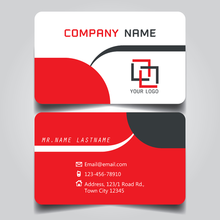 Modern Red, White and Black name card and business card with creative design, dimension in depth and drop shadow horizontal curve corner standard size vector illustration template