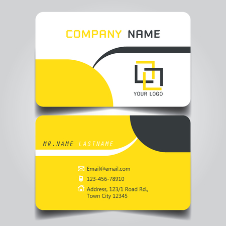 Modern Yellow, White and Black name card and business card with creative design, dimension in depth and drop shadow horizontal curve corner standard size vector illustration template Ilustrace