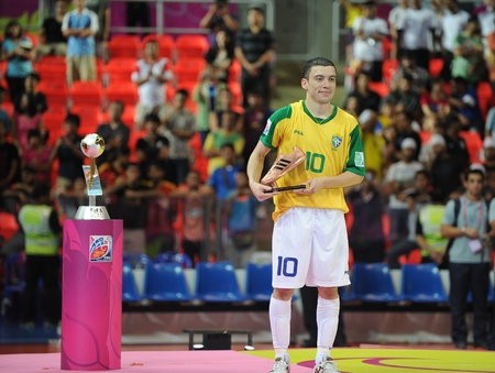 BANGKOK, THAIALND - NOV 18  Fernandinho of Brazil National team player,won the Adidas Golden Shoes in FIFA Futsal World Cup Thailand 2012 on November 18,2012 at Indoor Stadium Huamark in Bangkok Thailand   Stock Photo - 16425284