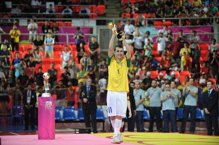 BANGKOK, THAIALND - NOV 18  Neto of Brazil National team player,won the Adidas Golden Ball in FIFA Futsal World Cup Thailand 2012 on November 18,2012 at Indoor Stadium Huamark in Bangkok Thailand   Stock Photo - 16425287
