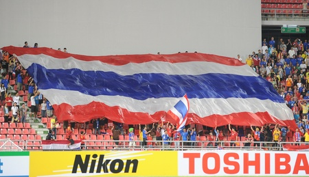 BANGKOK,THAILAND- NOVEMBER 24 Unidentified Thailand fc supporters during the  the AFF SUZUKI CUP 2012 between Thailand and Philippines at Rajamangkala stadium on Nov 24,2012 in Thailand