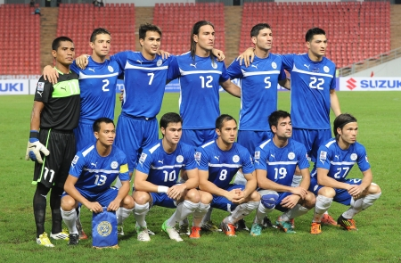 BANGKOK,THAILAND- NOVEMBER 24 Players of Philippines national team post for a photo during the AFF SUZUKI CUP 2012 between Thailand and Philippines at Rajamangkala stadium on Nov 24,2012 in Thailand