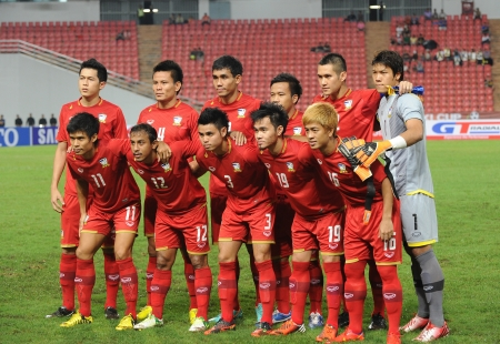 BANGKOK,THAILAND- NOVEMBER 24 Players of Thailand National team post for a photo during the AFF SUZUKI CUP 2012 between Thailand and Philippines at Rajamangkala stadium on Nov 24,2012 in Thailand