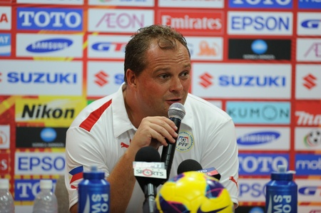 BANGKOK, THAILAND -NOV 24 Head Coach Hans Michael Weib of Philippines for the ball during the AFF SUZUKI CUP 2012 between Thailand and Philippines at Rajamangkala stadium on Nov 24,2012 in Thailand