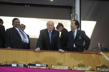 BANGKOK, THAILAND - NOV 18  FIFA President Joseph S  Blatter on V I P  Box before the FIFA Futsal World Cup 3rd place between Italy and Colombia at Indoor Stadium Huamark on November 18, 2012 in Bangkok, Thailand  Stock Photo - 16585918