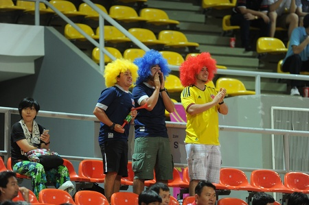 BANGKOK, THAILAND - NOV 18  Fans of Colombia in during the FIFA Futsal World Cup between Italy and Colombia at Indoor Stadium Huamark on Nov 18, 2012 in Bangkok, Thailand  Stock Photo - 16585919