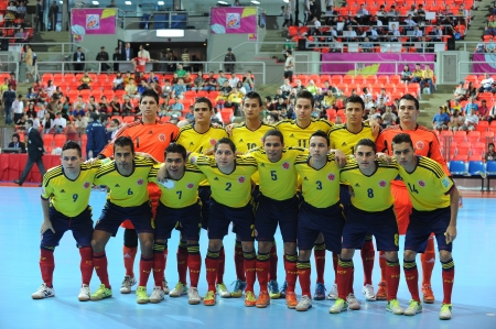 BANGKOK,THAILAND- NOV 18   Colombia team post for the photo during the FIFA Futsal World Cup between Italy and Colombia at Indoor Stadium Huamark on Nov 18,2012 in Thailand