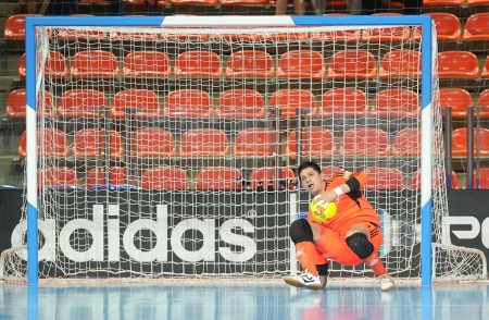 BANGKOK, THAILAND-NOV 18 Goalkeeper Juan Lozano of Colombia in action during the FIFA Futsal World Cup between Italy and Colombia at Indoor Stadium Huamark on Nov18,2012 in Bangkok,Thailand