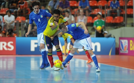 BANGKOK, THAILAND-NOV 18 Jhonathan Toro of Colombia  y  in action during the FIFA Futsal World Cup between Italy and Colombia at Indoor Stadium Huamark on Nov18,2012 in Bangkok,Thailand  Editorial