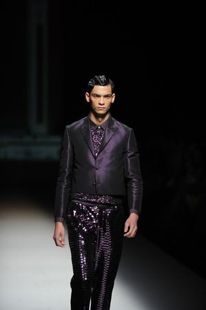 BANGKOK, THAILAND - OCT 12   Model walks the runway at   Painkiller Archetype   collection presentation during ELLE Fashion Week 2012 on October 12, 2012 in Bangkok Thailand  Editorial