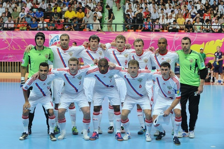 BANGKOK,THAILAND - NOV 14 Russia team post for a photo during the FIFA Futsal World Cup Quarterfinal round between Spain and Russia at Nimibutr Stadium on Nov 14,2012 in Bangkok,Thailand   Editorial