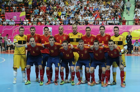 BANGKOK,THAILAND - NOV 14 Spain team post for a photo during the FIFA Futsal World Cup Quarterfinal round between Spain and Russia at Nimibutr Stadium on Nov 14,2012 in Bangkok,Thailand   Editorial