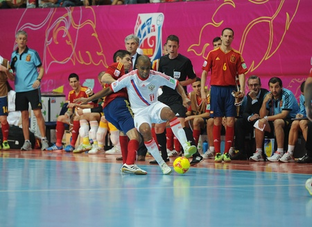 BANGKOK, THAILAND - NOV 14 Sirilo of Russia  w  in action during the FIFA Futsal World Cup Quarterfinal round between Spain and Russia at Nimibutr Stadium on Nov 14,2012 in Bangkok, Thailand