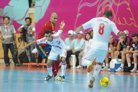 BANGKOK, THAILAND - NOV 14 Robinho of Russia  w  in action during the FIFA Futsal World Cup Quarterfinal round between Spain and Russia at Nimibutr Stadium on Nov 14,2012 in Bangkok, Thailand