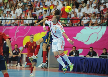 BANGKOK, THAILAND - NOV 14 Eder Lima of Russia  w  in action during the FIFA Futsal World Cup Quarterfinal round between Spain and Russia at Nimibutr Stadium on Nov 14,2012 in Bangkok, Thailand  Editorial
