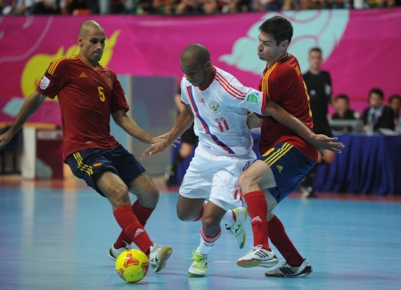 futsal: BANGKOK, THAILAND - NOV 14 Sirilo of Russia  w  in action during the FIFA Futsal World Cup Quarterfinal round between Spain and Russia at Nimibutr Stadium on Nov 14,2012 in Bangkok, Thailand