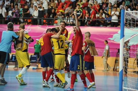 BANGKOK,THAILAND-NOV 14 Spain team celebrates after defeating Russia during the FIFA Futsal World Cup Quarterfinal round between Spain and Russia at INimibutr Stadium on Nov14, 2012 in Thailand  Editorial