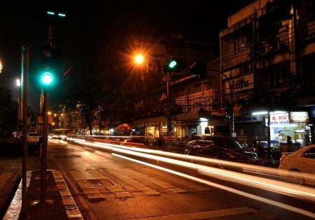 At night around Din Sor road in Bangkok, Thailand