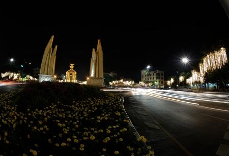 The Democracy Monument at night in Bangkok, Thailand