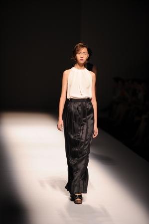 BANGKOK, THAILAND - OCT 12   Model walks the runway at  VATIT ITTHI   collection presentation during ELLE Fashion Week 2012 on October 12, 2012 in Bangkok Thailand  Editorial