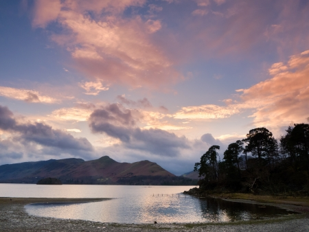 Sunset on the banks of Derwent Water Stock Photo - 17061795