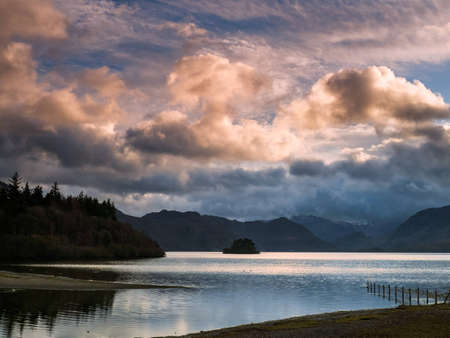 The calm waters of Derwent Water in the early evening Stock Photo - 17230244
