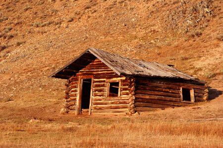 Old cabin on Stanley creek, Stanley Idaho photo