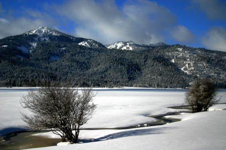 View of West Central Mountains in winter, Valley County Idaho