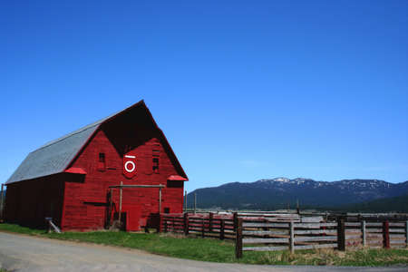 Idaho Red Barn Stock Photo