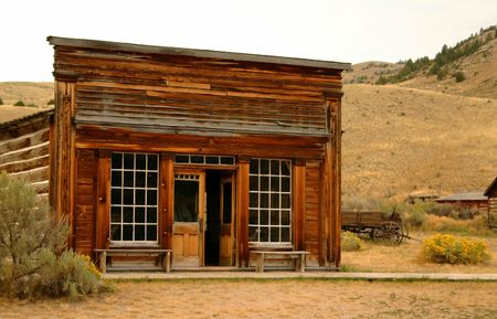 storefront: Saloon in historic Bannack Montana