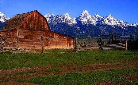 Historic barn located on Mormon Row, Grand Teton National Park, Wyoming photo